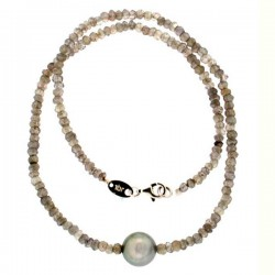 Tahiti pearl and labradorite necklace