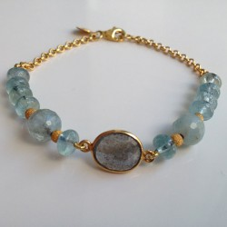 Labradorite and aquamarine bracelet