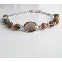 Smoky quartz and agate bracelet