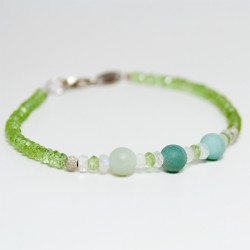 Peridot, moonstone and amazonite bracelet