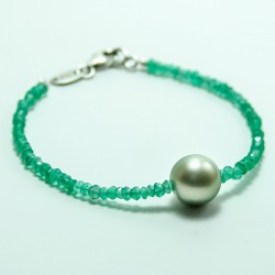 Tahiti pearld and apatite bracelet