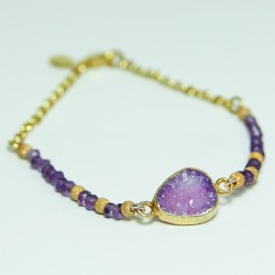 Agate and iolite bracelet