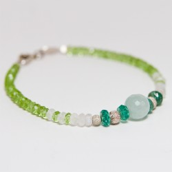 Peridot, moonstone and aquamarine bracelet