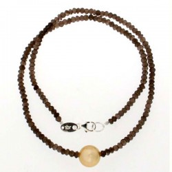 Golden pearl and smoky quartz necklace