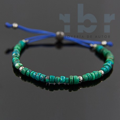 Chrysocolla bracelet discs with balls in sterling silver