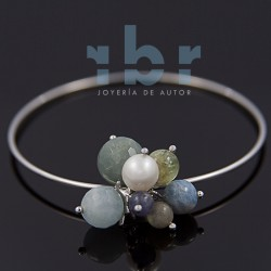 Slave pom-pom rhodium-plated sterling silver with spherical freshwater pearl