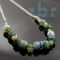 Spherical agate choker and rhodium-plated sterling silver motifs in white