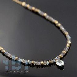 Center necklace of blue topaz, with labradorite and pyrite