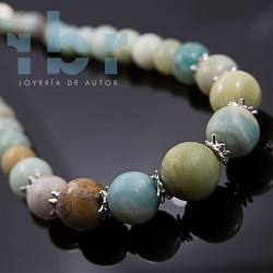 Spherical amazonite necklace in gradient with motifs in sterling silver